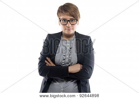 Portrait of pudgy business woman with short hair