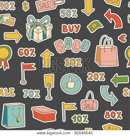 Vector Pattern Of Shopping Items, Sales And Promotions