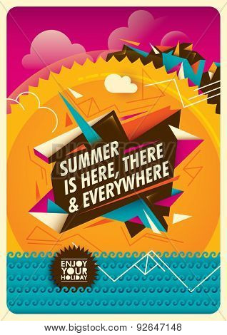 Summer background with colorful abstraction. Vector illustration.