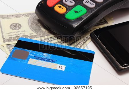 Payment terminal contactless credit card and mobile phone with NFC technology and money credit card reader payment terminal with cash finance concept poster