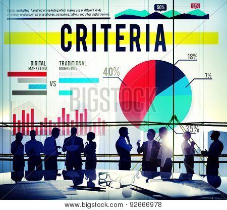 Criteria Regulation Statistics Business Marketing Concept