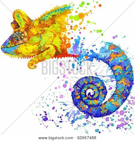 chameleon T-shirt graphics, chameleon illustration with splash watercolor textured background. illus