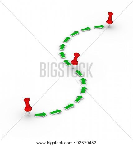 travel route with red thumbtacks and green arrows