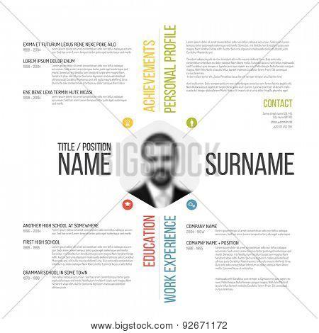 Vector minimalist CV / resume template design poster
