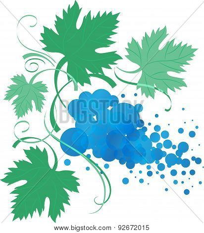 Stylized Vine Branch With Leaves, Vector Illustration