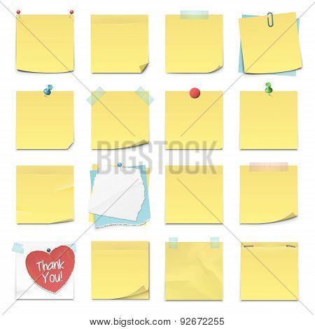 Collection of Sixteen Yellow Sticky Notes