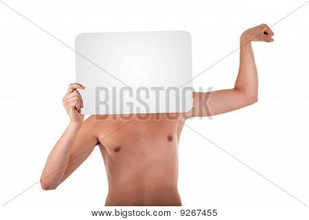 Slender Young Man Holding Text Box