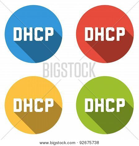 Collection Of 4 Isolated Flat Buttons For Dhcp
