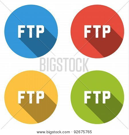 Collection Of 4 Isolated Flat Buttons For Ftp