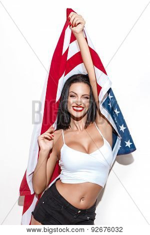 Beautiful Brunette Woman With Usa Flag