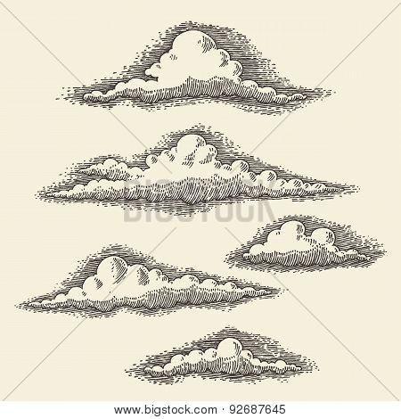 Retro Clouds Engraving Vector Hand Drawn Sketch