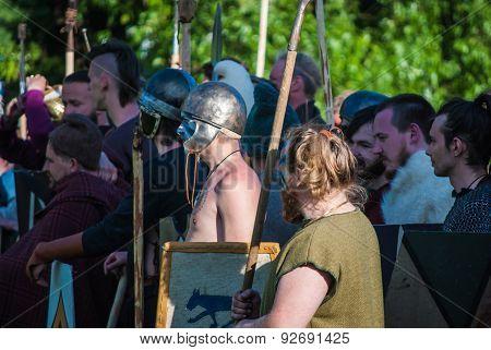 Historical reenactment of Boudica's rebellion
