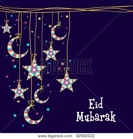 Muslim community festival, Eid Mubarak celebration greeting card decorated with colorful moons and stars hanging on blue background.