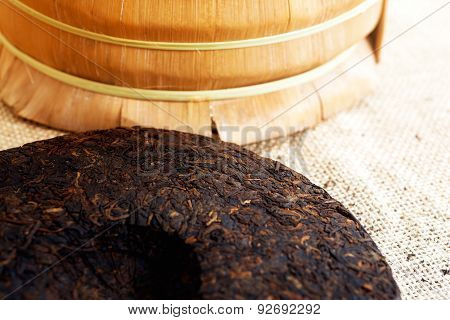 Chinese Puer tea pressed into rounded briquettes. Yunnan province China poster