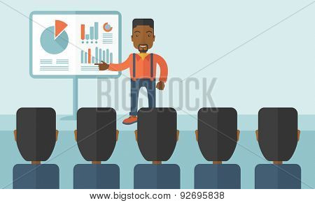 A black guy marketing officer show his business plan to his team. Teamwork concept. A contemporary style with pastel palette soft blue tinted background. Vector flat design illustration. Horizonatl