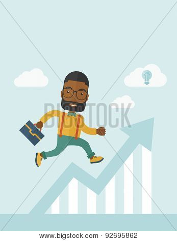 A happy career guy running going to a graph arrow up and have a brilliant idea on how to achieve his goal. Business progress concept.  A contemporary style with pastel palette soft blue tinted