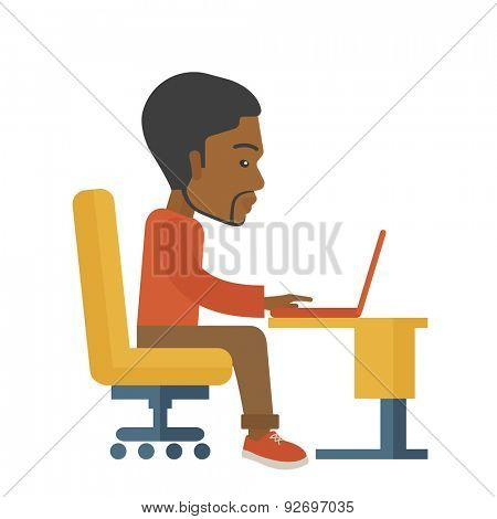 A black american sitting infront of the computer looking for a job online. A Contemporary style. Vector flat design illustration isolated white background. Square layout