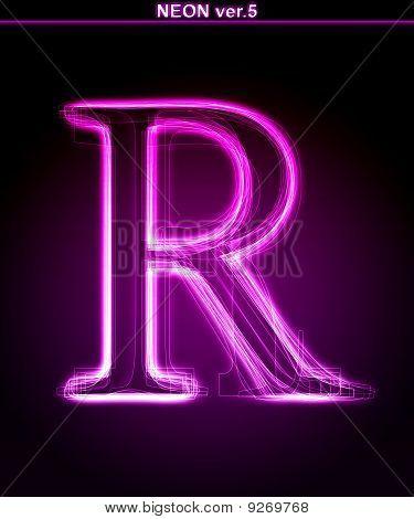 Glowing neon letter R