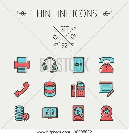 Technology thin line icon set for web and mobile. Set includes- headphones, server, printer, fax machine, telephone receiver, SSD, web cam, hard disk. Modern minimalistic flat design. Vector icon with