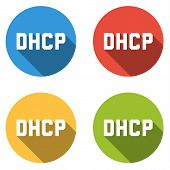 Set of 4 isolated flat colorful buttons (icons) for DHCP (Dynamic Host Configuration Protocol) poster