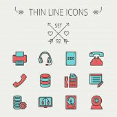 Technology thin line icon set for web and mobile. Set includes- headphones, server, printer, fax machine, telephone receiver, SSD, web cam, hard disk. Modern minimalistic flat design. Vector icon with poster