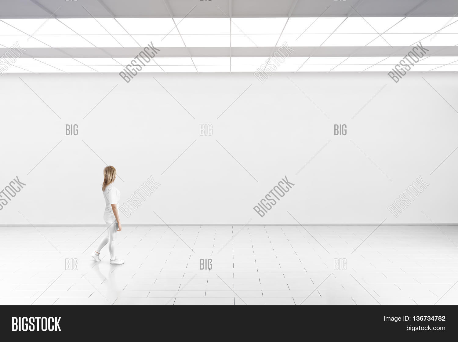 Empty big hall wall mockup woman image photo bigstock empty big hall wall mockup woman walk in museum gallery with blank wall white sciox Images