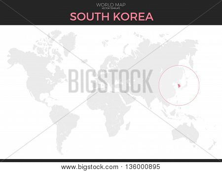 Republic of Korea or South Korea location modern detailed vector map. All world countries without names. Vector template of beautiful flat grayscale map design with selected country and border location