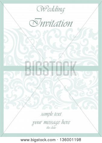 Wedding Invitation card with lace ornament. Opal blue color. Vector