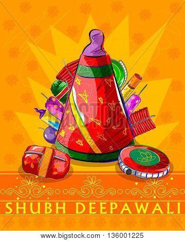 Vector design of assorted firecraker for Diwali celebration wishing Shubh Deepawali Happy Diwali