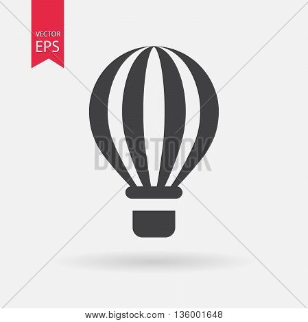 Hot air balloon icon. Travel symbol isolated on white background. Flat design style. Vector illustration