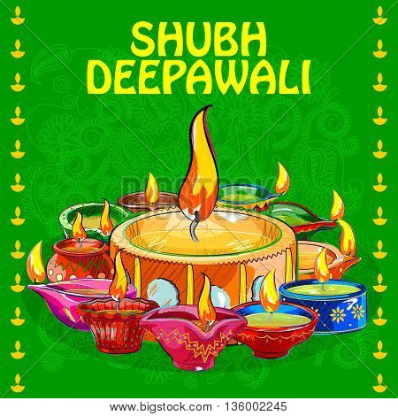 Vector design of colorful painted diya for Happy Diwali decoration wishing Shubh Deepawali Happy Diwali