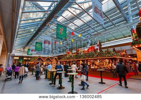 TOKYO JAPAN - NOVEMBER 28 2015: Christmas celebration prepared at the ground floor of Mori Tower in Roppongi Hills