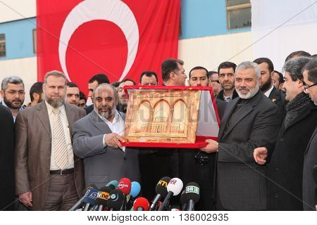 ISTANBUL, TURKEY - JANUARY 2 : Ismail Haniyeh, prime minister of the Palestinian administration in Gaza, visited Mavi Marmara ship on January 2, 2012 in Istanbul,Turkey.