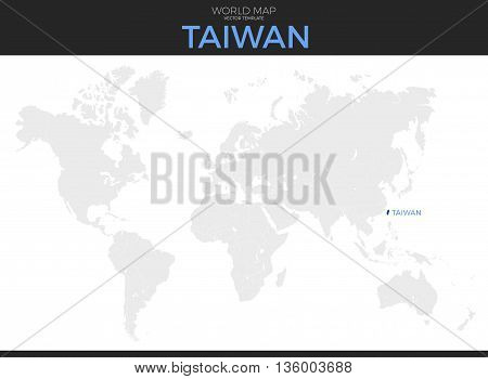 Taiwan location modern detailed vector map. All world countries without names. Vector template of beautiful flat grayscale map design with selected country and border location