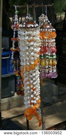 seashell wind chimes for sale at Cape Samila Beach, Songkhla, Thailand