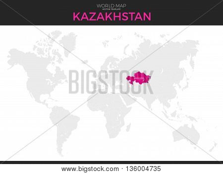 Kazakhstan location modern detailed vector map. All world countries without names. Vector template of beautiful flat grayscale map design with selected country and border location