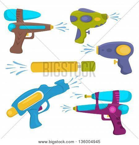 Water gun isolated. Plastic water gun songkran festival squirt gun. Set water guns. collection water pistols on white. Water pistols water spray vector toy guns. Water guns flat set for water fights.