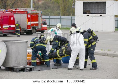 CZECH REPUBLIC, PLZEN, 4 JUNY, 2014: Fire departments and emergency team in protective suits.