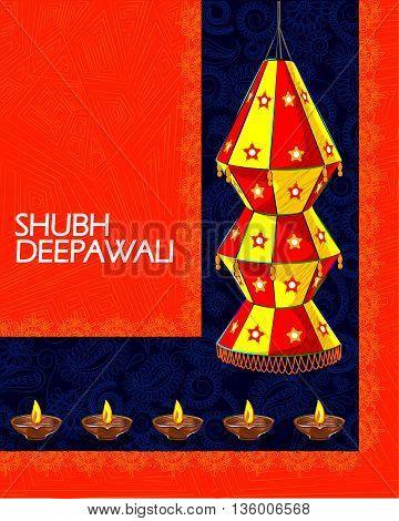 Vector design of decorated hanging lamp for Diwali celebration wishing Shubh Deepawali Happy Diwali