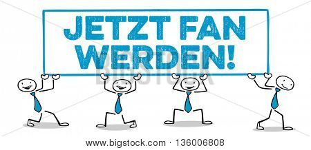 Three cartoon business people holding German slogan