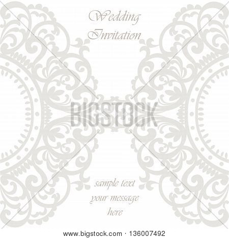 Wedding Invitation card with lace ornament. Silver gray color. Vector