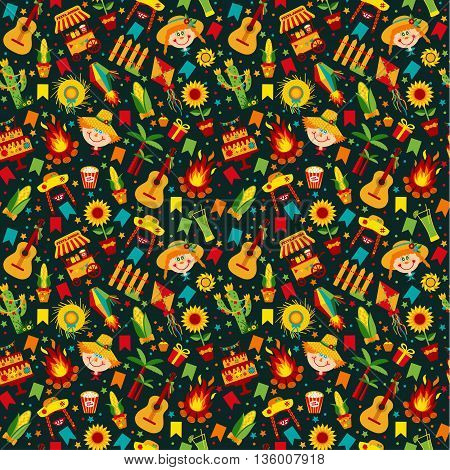 Festa Junina Village Festival In Latin America. Icons Set In Bright Color.