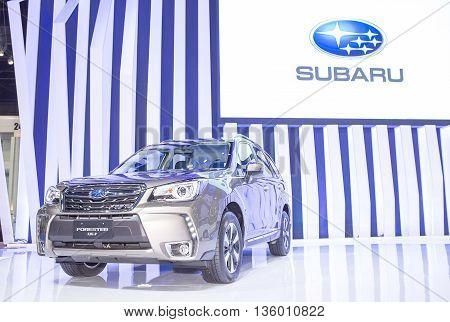 Bangkok - March 22 : gray Subaru series Forester - in display at The 37th Bangkok international Motor Show 2016 on March 22 2016 in Bangkok Thailand