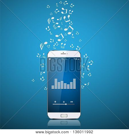 Realistic Smartphone with music notes. vector illustration