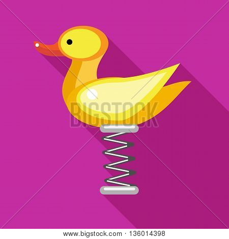 Duck spring see saw icon in flat style on a fuchsia background