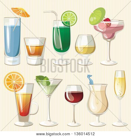Vector illustration of popular alcoholic cocktails. Bloody Mary, Tequila Sunrise, Mojito, Cosmopolitan, Pina Colada, Caipirinha, Mai Tai, Margarita. Vintage style.
