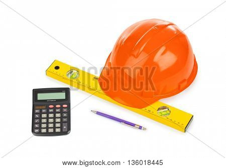 Calculator and tools isolated on white background
