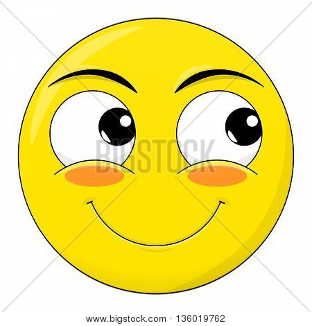 Smile sweet happy blushed embarrassed look away emotion. Emoji vector cartoon.