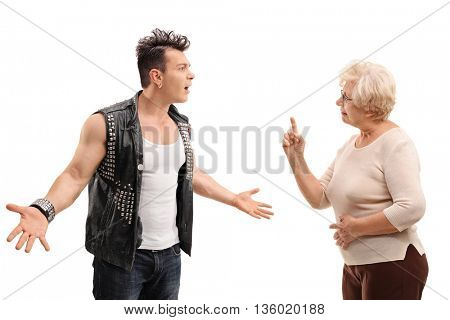 Angry punk rocker arguing with his grandmother isolated on white background