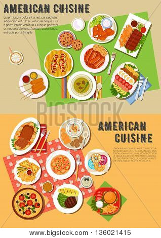 American picnic dinner with fast food and barbecue dishes flat icon with hot dogs and cheeseburger, pizza, french fries and kebabs, grilled meat, clams and vegetables, beans with bacon and hot sandwiches, meat loaf and seafood rice, cobb salad, donuts